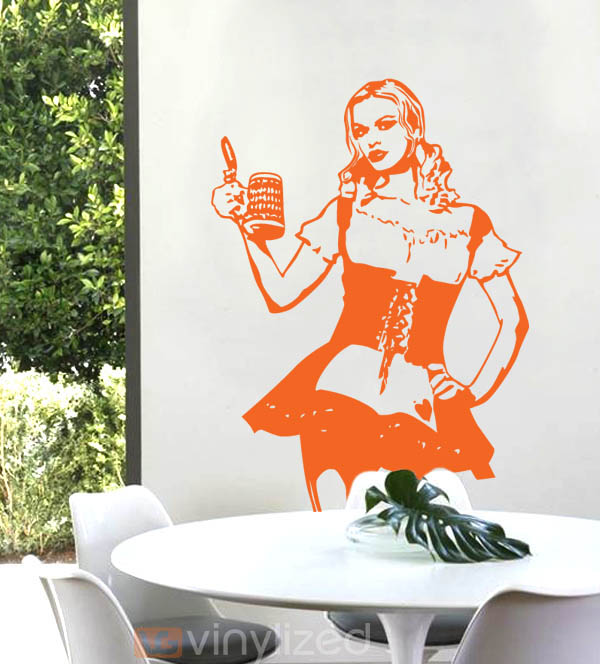 1PB009 - Sexy Beer Girl Wall Decal Sticker
