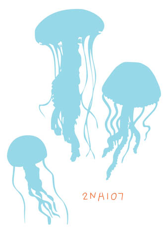2NA107 - 3 Jelly Fish Wall Decal Sticker