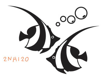 2NA120 - Striped Fish Wall Decal Sticker