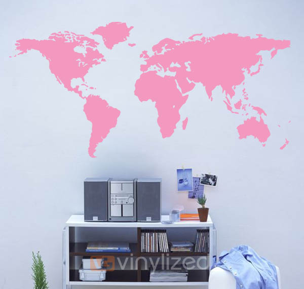 NB Map Of The World Wall Decal Sticker NB - Custom vinyl wall decals canada