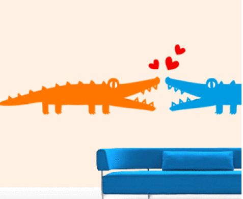 3KA004 - Alligators in Love Wall Decal Sticker