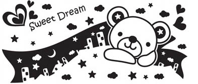 3KA005 - City Bear Dreamer 1 Wall Decal Sticker