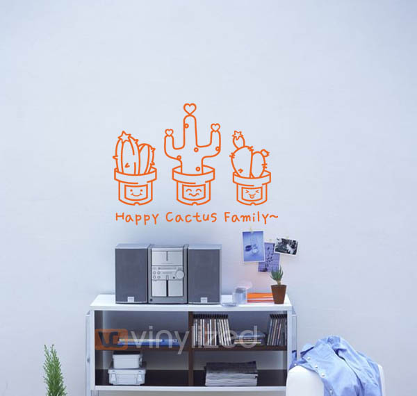3KB011 - Cactus Family Wall Decal Sticker