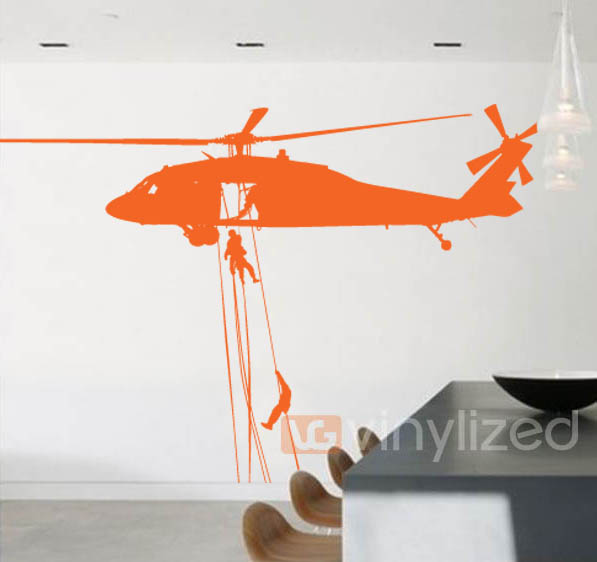 4MA012 - Helicopter Rope Down Wall Decal Sticker