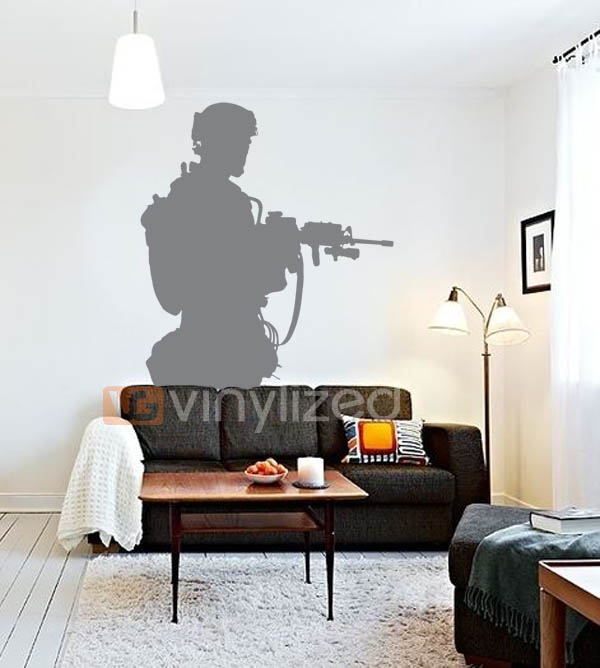 4MA020 - Armed Soldier on a Walk Wall Decal Sticker