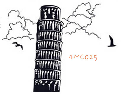 4MC025 - Tower of Pisa Wall Decal Sticker