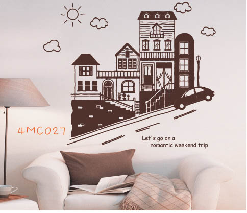 4MC027 - Houses on the Slope Wall Decal Sticker