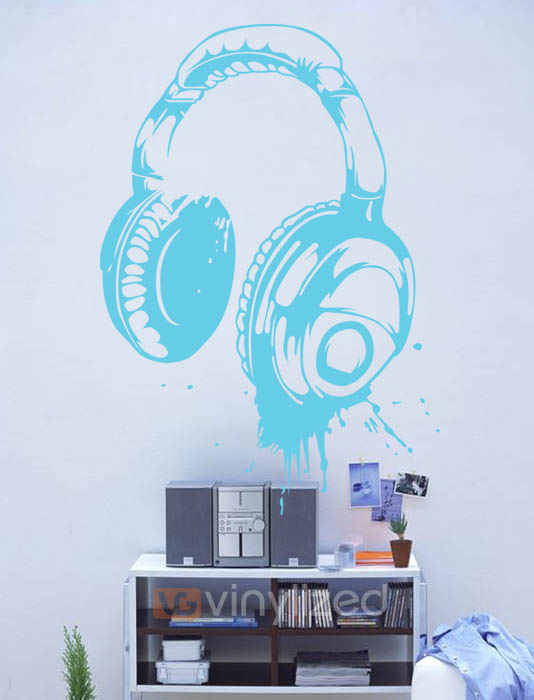5HD010 - Painted Headphone Wall Decal Sticker