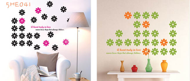 5HE041 - Flowered Wall Decal Sticker