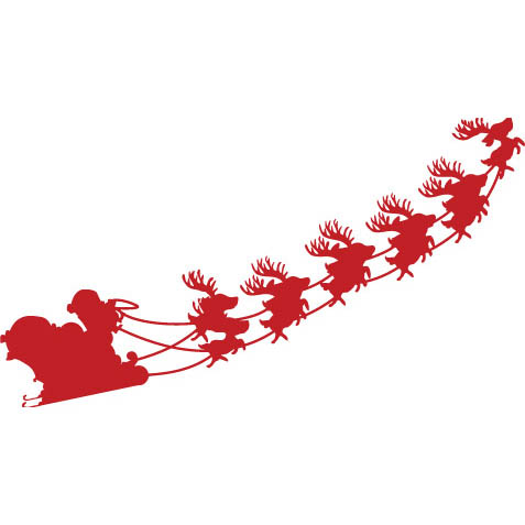 6MC431 - Santa Sleigh 1 Wall Decal Sticker